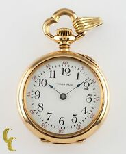 Antique Waltham Ruby 14k Yellow Gold Open Face Pocket Watch Size 0 15J 1901