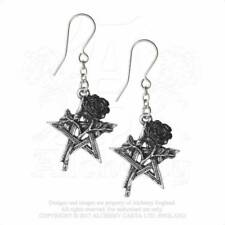 Alchemy England Ruah Vered Pentagram Rose Droppers Gothic Earrings
