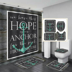Jesus Christ Anchor Shower Curtain Bath Mat Toilet Cover Rug Bathroom Decor