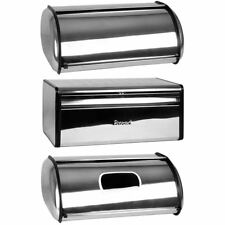 Bread Bin Stainless Steel Silver Mirrored Kitchen Food Storage Loaf Container