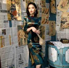 Peacock Blossom Green Velvet Chinese Short Dress Cheongsam Qipao lcdress88 913