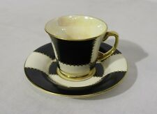 Vintage Crown Devon Fieldings BLACK & WHITE w/Gold Cup & Saucer #3308, England