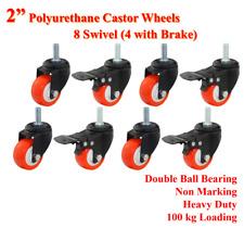 "2"" PU Castor Wheels,8 Swivel Casters (4 with brake), Heavy Duty Bolt, Furniture"