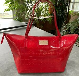 Red Patent Leather Kate Spade Tote Bag Purse Gold Hardware