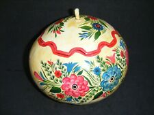 Floral Hand Painted Gourd ~ Mexican Latin American Folk Art ~ Lidded Storage Box