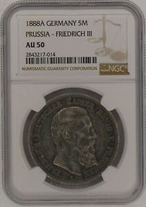 1888A Germany Prussia 5 Mark Silver Coin KM #512 NGC AU50