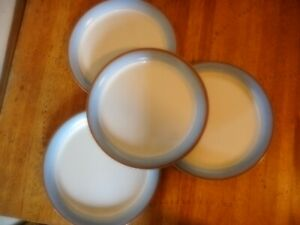 """Corelle Skyscape Dinner Plates 10 1/4"""" brown blue ring Set of 4 used shape"""
