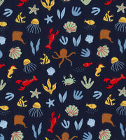 Ocean Nautical Seahorse Fabric  John Louden 100% cotton fabric Metre, 1/2 Metre