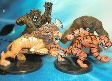 Dungeons & Dragons Miniatures Lot  Werebear Weretiger Dire Lion !!  s116