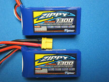 2 ZIPPY 1300mAh 2S 7.4V 20C LIPO BATTERY LATRAX SST TETON 1/18 LOSI MINI RC