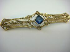 UNIQUE ANTIQUE BROOCH 14K GOLD SAPPHIRE & SEED PEARLS 6 GRAMS, 2.4 INCH LONG