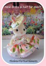 Sylvanian Clothes, New Strap Dress, Hat & bag B For ADULT Rabbit, Cat ETC