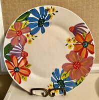 2 Royal Norfolk Spring Fling Dinner Plates Red Blue Purple Flowers 10.5 ""