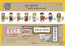"""""""Traditional Costumes of the World-Boys""""Cross stitch pattern leaflet.SODA SO-G23"""