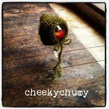 Estilo Vintage Verde Musgo mohair Bonnet, Capucha. recién Nacido. Foto Fotografía Prop.