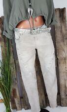 NEU ★ BAGGY BOYFRIEND PANTS JEANS 🌼 STRETCH STRASSSTEINE TAUPE XL 42 44