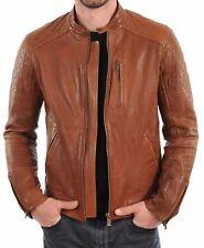 New Men Genuine Lambskin Leather Jacket Black Slim fit Biker Motorcycle-MJ290