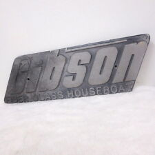 Vintage Gibson Fiberglass House Boat large Metal Plate Sign