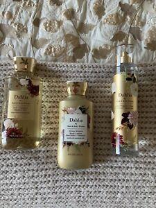 Bath and Body Works DAHLIA Set Body Mist, Lotion & Shower Gel Full Size NEW