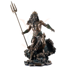 Large 53cm Poseidon Greek God of the Sea Commanding Waves Cold Cast Bronze.Super