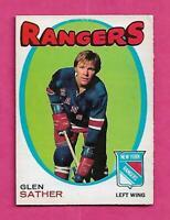 1971-72 OPC  # 221 RANGERS GLEN SATHER EX+ CARD  (INV# C1615)