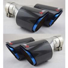 NEU 2X Blau Edelstahl Carbon Auspuffblende Doppelt Auspuff Rohr 63mm Linke+Recht