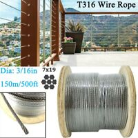 """500ft 3/16"""" Wire Rope Cable 7x19 Construction T316 Stainless Steel Cable Railing"""