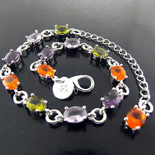 BRACELET BANGLE REAL 925 STERLING SILVER S/F SAPPHIRE PERIDOT AMETHYST DESIGN