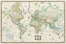 "Antique World Wall Map Poster Old World Style Modern Info 36""x24"" Laminated"