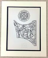 1842 Antico Stampa Effetto Vetrata Vetro Finestrino Canterbury Cathedral Chiesa