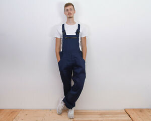 VTG Work Bibs UK 42 Worker Dungarees Navy Cotton Overall Chore JumpSuit Utility