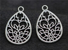 6/30/150pcs Lot Tibetan Silver Hollow Flower Jewelry Charm Pendant 28x18mm A586C