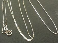 "14k Solid White Gold Classic Box Necklace Pendant Chain 16"" Best price!!"