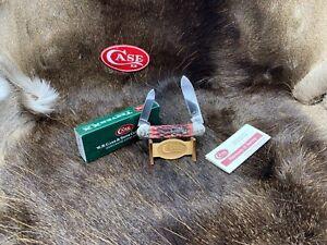 #001 Case Silver Script Canoe Knife Scrolled Cranberry Bone Mint Set SN# 001 C17