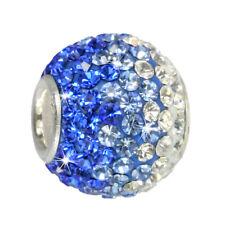 Charm SilberDream Glitzer Bead Swarovski Elements blau ICE Silber GSB002
