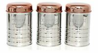 Copper And Steel Effect Metal Tea Coffee Sugar Canister Storage Jar Canister