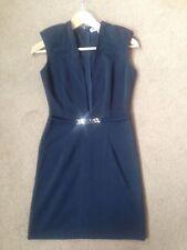 Ladies RARE LONDON Black Stretch Low V Front Party Bandeau Dress Size 8