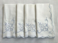 Cloth Napkins Set 4 Embrodered Blue Flower On White Cotton Scalloped Edge
