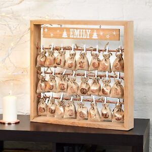 Personalised Christmas Solid Oak Advent Calendar With Metallic Hanging Sacks