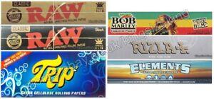 Mixed King Size Rolling Papers Set, Raw Hemp Paper, Trip, Elements Kingsize