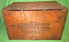 RARE Antique Stewart Warner Radio Wooden Shipping Crate Chicago, IL