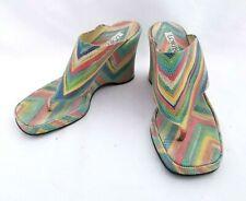 Loriblu Multicolor Wedge Platform Thong Sandal 37 Italy