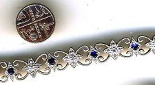 """925 Sterling Silver Sapphire & White Topaz Bracelet   Length 7.1/2"""" 190mm"""