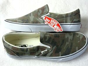 Vans Mens Classic Slip On Washed Camo True White Canvas Skate Shoes Size 10.5