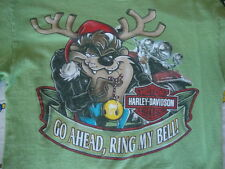 Harley Davidson Motorcycles Looney Tunes Christmas Taz Ft. Worth Tx T Shirt S