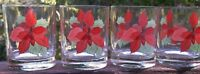 SET OF 4 BLOCK POINSETTIA  Double  Old  Fashioned / Whiskey  Glasses   8 OUNCE