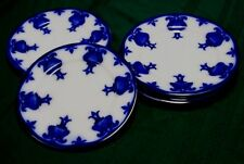 6 POPPY Flow Blue Plates Wedgwood 9""
