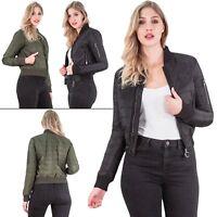 Womens Bomber Padded Vintage Jackets Brave Soul Zip Up Classic Retro Biker Style