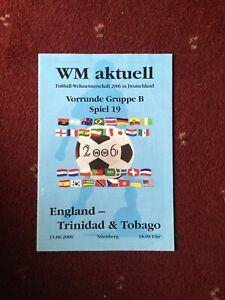 Germany 2006 World Cup WM Aktuell, England v Trinidad & Tobago 15/6/2006 Group B