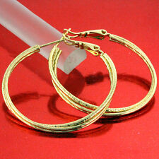 FS633 GENUINE REAL 18K YELLOW G/F GOLD SOLID ANTIQUE LARGE STUD  HOOP EARRINGS